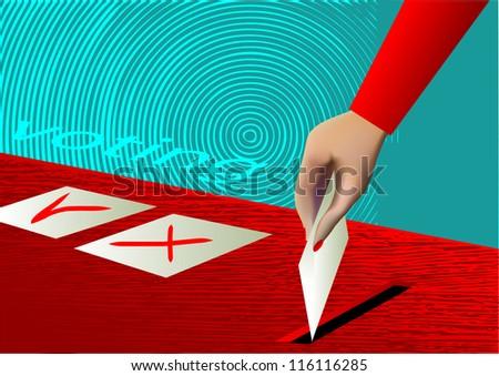 voting. ballot box and hand putting a blank ballot inside