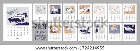 2021 wall сalendar design. Week starts on Sunday. Monthly Wall Calendar 2021. US Letter format. Editable calender page template. Abstract artistic vector illustrations with textures. Set of 12 months.