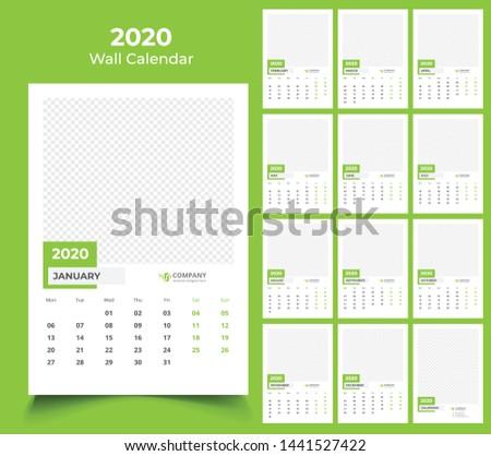 2020 wall calendar template design