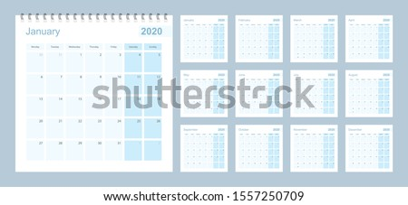 2020 wall planner in blue pastel color, week starts on Monday. Calendar with blue square and with day of previous and next month.