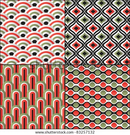 Wallpaper traditional seamless pattern asian set  Japanese oriental