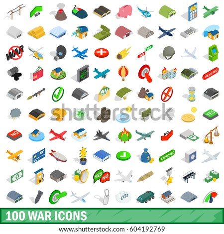 100 war icons set in isometric