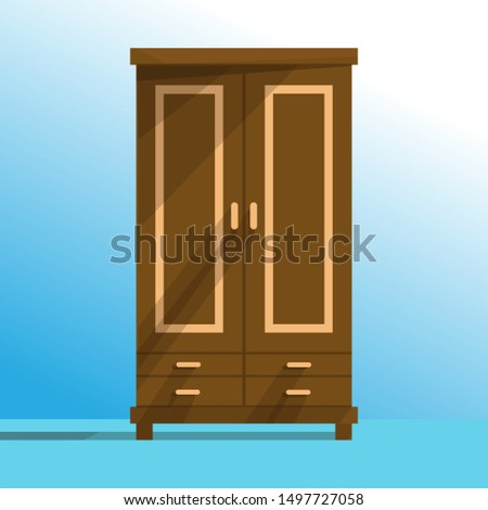 Wardrobe exposed to outside light. Vector of wardrobe or cupboard, natural wood furniture in flat style.