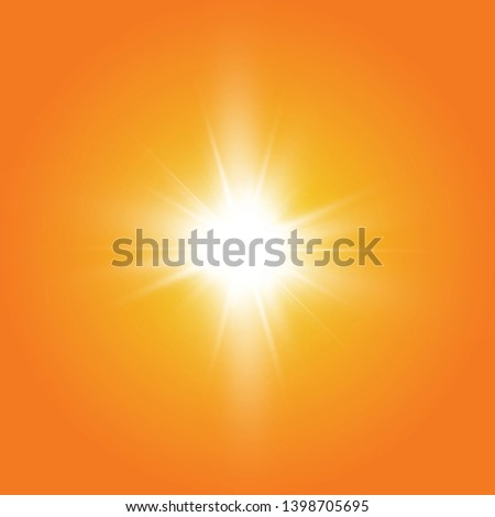 Warm sun on a yellow background. Leto.bliki solar rays  #1398705695