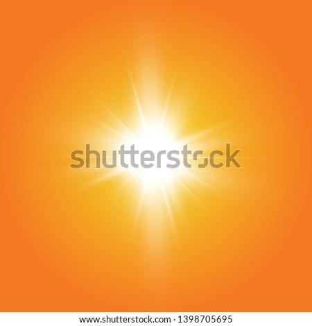 Warm sun on a yellow background. Leto.bliki solar rays  #1398705695