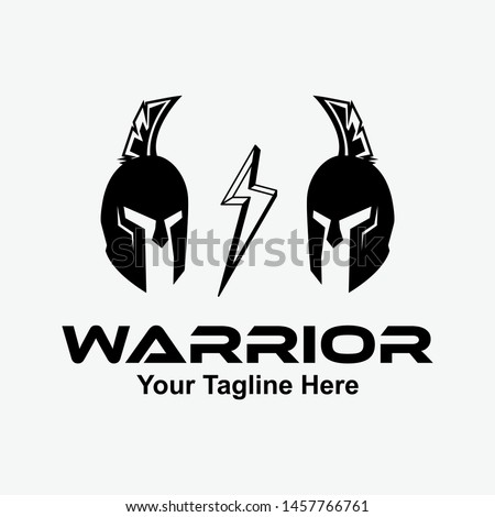 """Warriors"" sport team logo design. Spartan warrior illustration. Eps10 vector."
