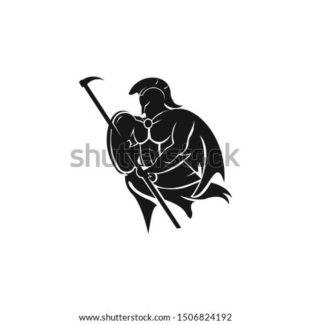 """Warriors"" sport team logo design. Spartan warrior illustration. Eps10 vector."