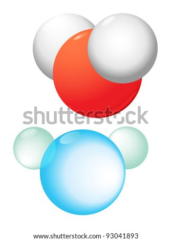 Water molecule contains 1 oxygen and 2 hydrogen atoms connected.  Water chemical substance  formula. Vector.