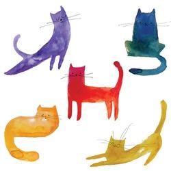 5 watercolor cats.