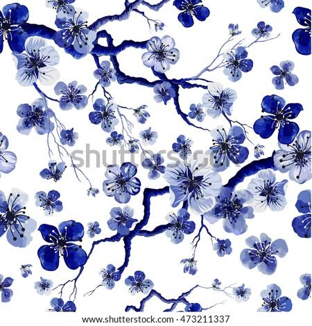 watercolor oriental pattern