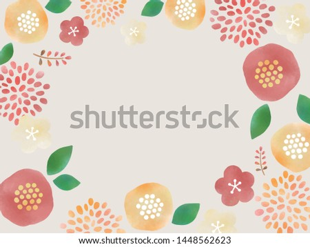 Watercolor style Japanese style frame Flower and other plants