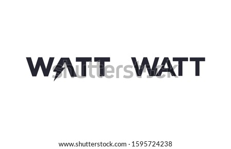 Watt word for electric logo vector editable Foto stock ©
