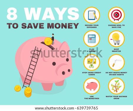 8 way to save money infographic. pig money box isometric character. vector flat cartoon illustration icon design. no credit, money, bankrupt, bank. concept, saving finance money, plan, budget