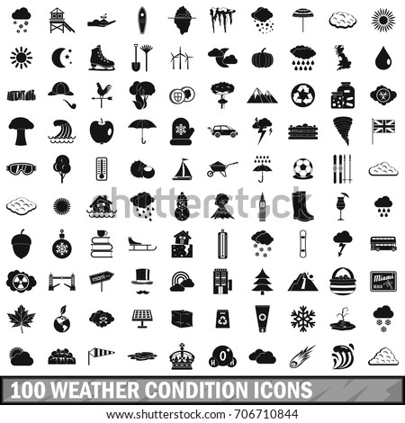 100 weather condition icons set in simple style for any design vector illustration
