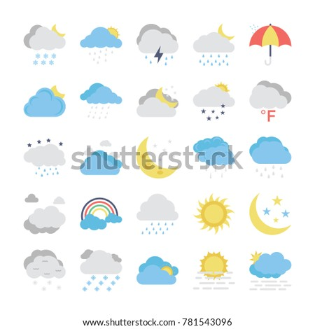 Weather Flat Colored Icons