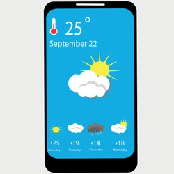 Weather forecast widget. Daily weather forecast application template. Icons set of temperature, wind direction, atmospheric pressure, sunrise and sunset. Paper cut climatic signs