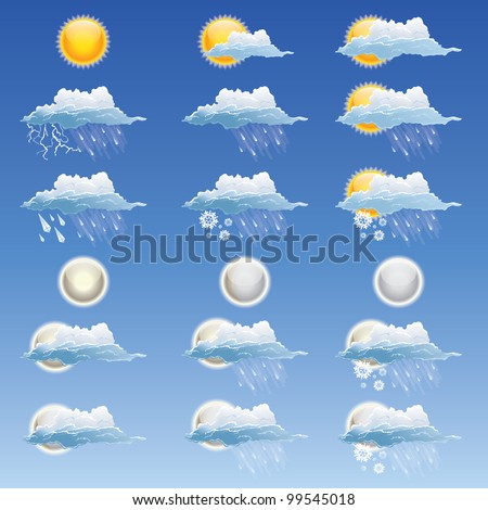 18 weather icon set