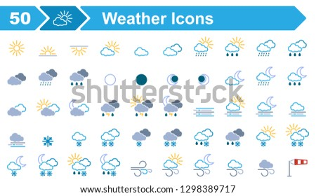 50 Weather Icons - Iconset (Editable Vectors)
