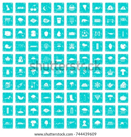100 weather icons set in grunge style blue color isolated on white background vector illustration