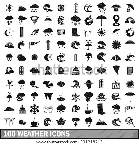 100 weather icons set in simple