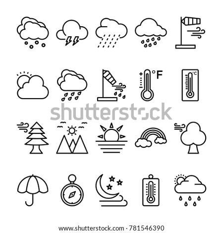 Weather Line Vector Icons Set