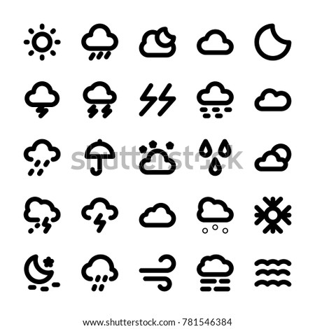 Weather Vector Line Icons Set