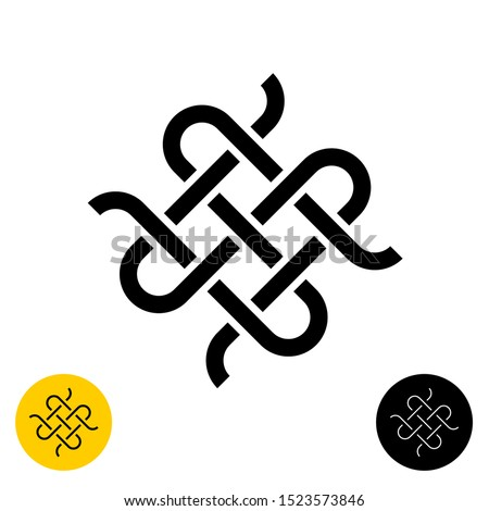 Weave knots celtic style logo. Intersected textile woven lines symbol. Adjustable line width. Stock foto ©