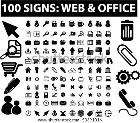 100 web & office signs. vector - stock vector