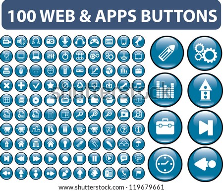 100 web & apps buttons, signs, icons set, vector