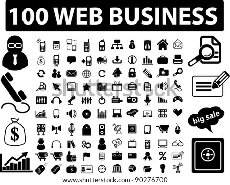 100 web business icons set, signs, vector illustration