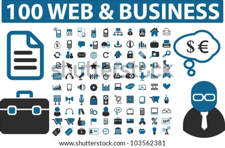 100 web & business icons set, vector