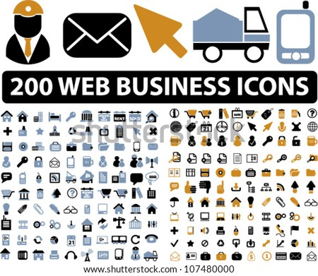 200 web business icons set, vector