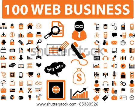 100 web business icons, signs, vector - stock vector