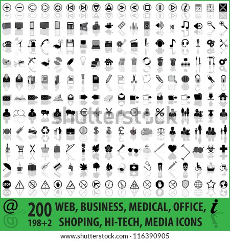 200 WEB, BUSINESS, MEDICAL, OFFICE, SHOPPING, HI-TECH, MEDIA ICONS