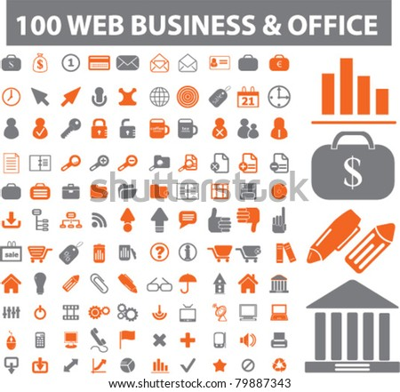 100 web & business & office icons, signs, vector illustrations