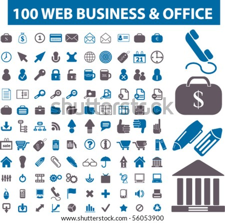 100 web business & office signs. vector