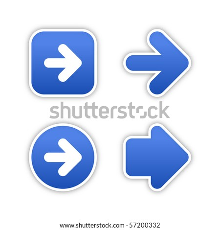 4 web 2.0 button stickers arrow sign. Smooth cobalt shapes with shadow on white background. 10 eps