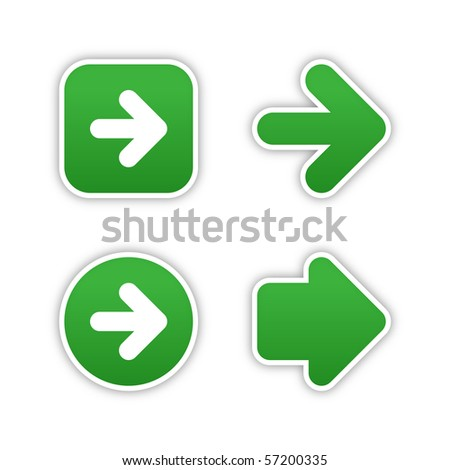 4 web 2.0 button stickers arrow sign. Smooth green shapes with shadow on white background