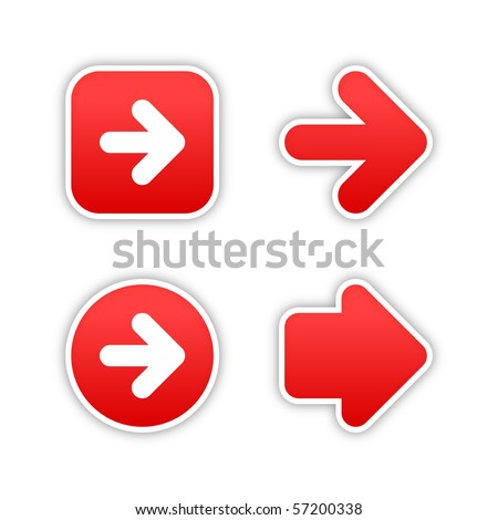 4 web 2.0 button stickers arrow sign. Smooth red shapes with shadow on white background