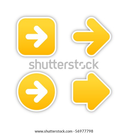 4 web 2.0 button stickers arrow sign. Smooth yellow shapes with shadow on white background. 10 eps