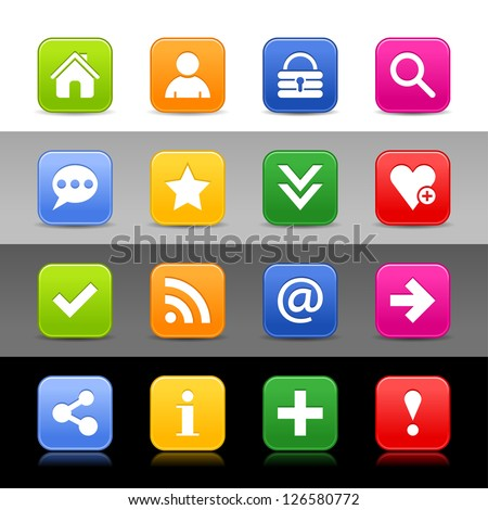 16 web button with basic sign. Satin series icon. Rounded square shapes with shadow, reflection. Green, orange, blue, yellow, red color on white, black, gray backgrounds. Vector illustration 8 eps