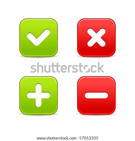 4 web 2.0 buttons of validation icons. Colored smooth shapes with shadow on white background