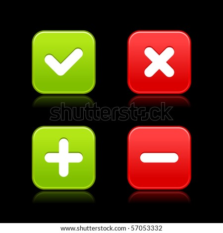 4 web 2.0 buttons of validation icons. Colorful satin shapes with reflection on black background