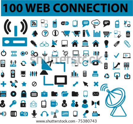 100 web & connection, communication signs, icons, vector illustrations