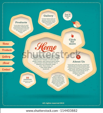 Web Design Template - Retro Landing Page - stock vector