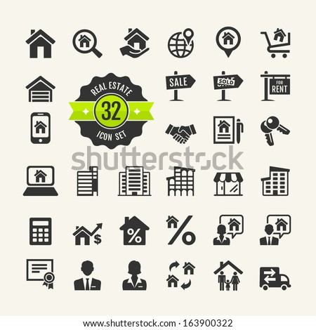 Web icon set.  Real Estate, property, realtor