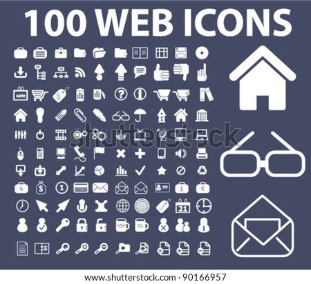 100 web icons set, vector illustrations - stock vector