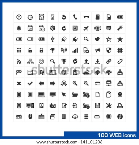 100 web icons set. Vector pictograms for web, internet, mobile, computer interface design: battery, bookmarks, PC, notebook, phone, clock, devices, social communications, widgets, settings symbols.