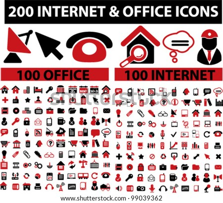 200 web internet & office icons set, vector