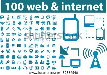 100 web & internet signs. vector